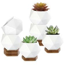 MyGift Set of 6 White Ceramic Geometric 3 Inch Mini Planters with Bamboo Trays