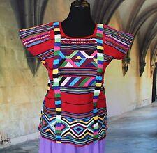 Vibrant Huipil from Ojitlan Tuxtepec Hand woven Oaxaca Mexico Hippie Santa Fe