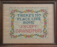 Vntg '60's Framed Cross Stitch There'S No Place Like Home Except Grandma'S