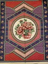 100%cotton fabric WEILWOOD tabletop ROSE FLORAL PANEL cheater QUILT  patchwork