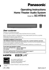 Panasonic SC-HTB10 Home Theater System Owners Instruction Manual