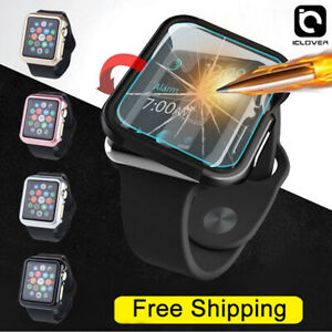 Apple Watch Series 6/5/4/3/SE 44/42mm Snap On Bumper Case Cover+Screen Protector