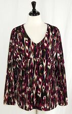 Dana Buchman XL Top Tunic V-Neck Long Sleeves High Waist Lined