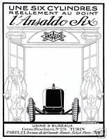 Publicité ancienne voiture l'Ansaldo six 1927 issue de magazine
