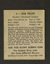 1948 Bowman #5 Bob Feller RC Indians EX