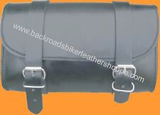 PLAIN LEATHER MOTORCYCLE BIKER TOOL BAG SMALL 9.5 X 5 X 3