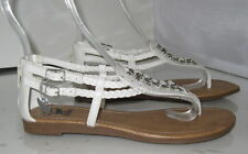 Summer White Womens Shoes Roman Gladiator Flat Sandals Size 7.5