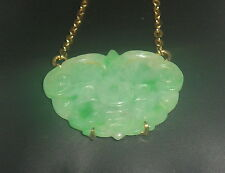 14K  Gold     OLD  CARVING   Jade   Butterfly    Necklace