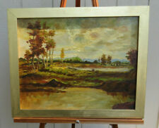 Calfornia Landscape Painting Oil on Canvas Entitled Autumn Peace Signed Temple