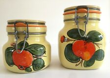 Vintage Hand Painted Italian Oranges Fruit Motif Ceramic Canisters FREE SHIPPING