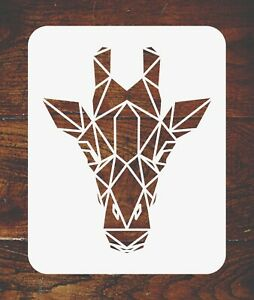 Giraffe Stencil Reusable Geometric Decor African Wild Animal Head Wall Template