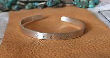 "❤️STERLING SILVER❤️ ""DREAM"" Engraved Cuff  Mantra Message Inspirational Bracelet"