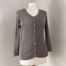 WRAP LONDON Twinset Cardigan Vest Size 14 16 100% Silk Mushroom Brown 3/4 Sleeve