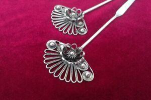 National wind retro tribal pure handmade Miao silver flower fan hairpin 1piece