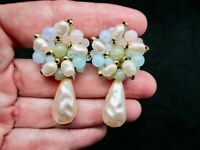 Vintage-Gold Tone Pink, Green & Blue Faux Pearl Dangle Pierced Earrings