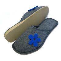 New Womens Ladies Girls Blue Flower Grey Slip on Mule Slippers Size 3 4 5 6 7 8
