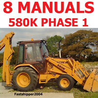 Case Phase 1 580 K Loader Backhoe Shop Service Repair Manuals Parts Operator CD