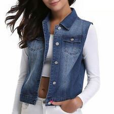 Womens Sleeveless Cotton Coat Slim Denim Short Casual Jean Jacket Outerwear Vest