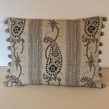 """NEW Kate Forman Angelique Charcoal Fabric 17""""x13"""" Pom Pom or Piped Cushion Cover"""