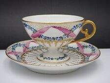 SEVRES FRENCH PEDESTAL CUP & SAUCER ENTWINED PINK RIBBONS & BLUE FLOWERS W/ GOLD