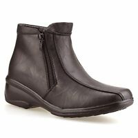 Ladies Womens Mid Wedge Heel Zip Up Warm Fur Lined Winter Ankle Boots Shoes Size