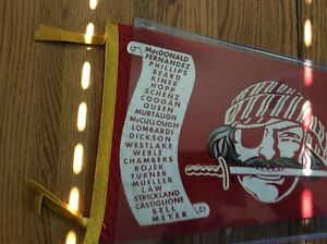 Pittsburgh pirates red pennant pirate wi/ Knife in mouth scroll of players 1950