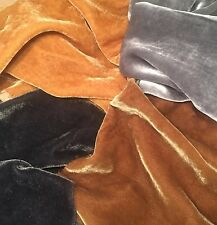 "Silk VELVET PRECIOUS METALS Fabric Sample Set Remnants Lot - 6""x45"" Each"