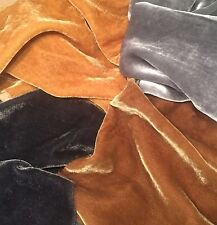 "Silk VELVET PRECIOUS METALS Fabric Sample Set Remnants Lot - 6""x22"" Each"