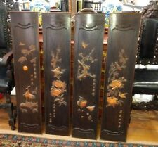 Antique Chinese Export Wood Carving Four Panel Screen Seasons