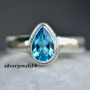 Blue Topaz 925 Sterling Silver Ring Women Ring Band Handmade Jewelry kd9280