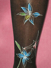 Black Floral Hold Ups. Blue Lily Print 8-12 NEW Stockings retro vintage 50s look