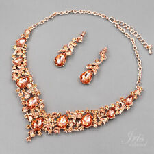 ROSE GOLD Plated Peach Crystal Wedding Jewelry Set Necklace Earrings 8227 Prom