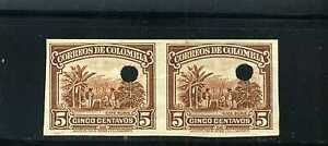 PROOFS, ESSAYS- COFFE CULTIVATION > brown,- COLOMBIA pair hor.imperf. 1932  MNH