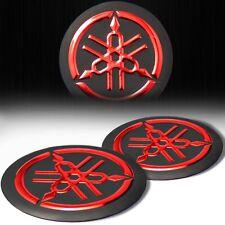 "2x 2"" 3D Logo Emblem Decal Fairing/Gas Tank Sticker for Yamaha Black+Chromed Red"
