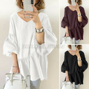 ZANZEA Women 3/4 Sleeve Shirt Tops Blouse Tiered V Neck Basic T-Shirt Tee Jumper