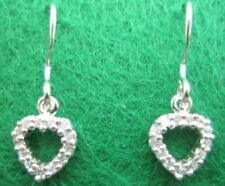 HEART EPIPHANY DIAMONIQUE STERLING SILVER PLATINUM CLAD DANGLE EARRINGS