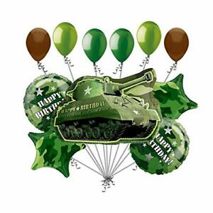 Army Tank Military Camouflage Party Supplies Birthday Balloon Bouquet Decorat...
