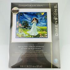 """Dimensions Gold Collection Counted Cross Stitch Kit Spring Fairy 12""""X14"""" NEW"""