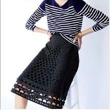 J.CREW NWT $148 Womens Skirt A-Line Midi Perforated Eyelet Lasercut Black Sz 4