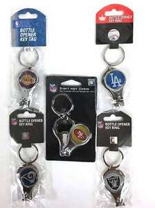 NFL NBA MLB 3 in 1 Multi Key Ring Nail Clipper Bottle Opener Keychain NEW