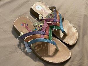 New Girl's Rachel Slip On Strappy Sandals Metallic Glitter Multicolor Size 3