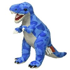 "Rhode Island Novelty Stuffed T-Rex Dinosaur Plush Toy, 9"" Tall Blue and Gray New"