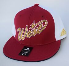 NWT NBA West Size 7 1/4 Fitted adidas Flat Bill Baseball Cap Hat MSRP $30