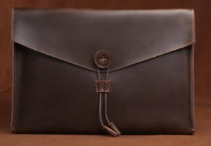 file Folder pocket cow Leather laptop bag Briefcase iPad Case pouch brown 621