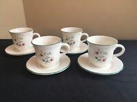 SET OF 4 Pfaltzgraff USA WINTERBERRY Flat Cups & Saucers; EUC!