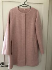 Cos Collarless A-Line Wool Coat Pink UK 8 EUR 34 *BRAND NEW*