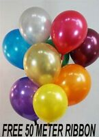 "12"" Metallic Pearlised Helium Quality Latex Party Balloons Birthday Wedding deco"
