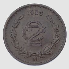 1906 Narrow Date Mexico 2 Centavos (Extra Fine, XF Condition) KM 419