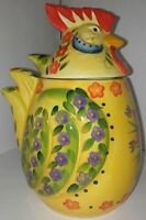 """Dario Farrucci Rooster Cookie Jar Floral Kitchen Yellow Chicken Container 9"""""""