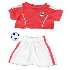 """Kit de fútbol de Rojo Bola Outfit oso de peluche ropa encaja 15"""" Build a Bear"""